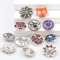 2017 New 6pcs High Quality Crystal Owl&Flower&Cross&Heart&Cat Glass Metal Snaps buttons DIY Snap Charms Jewelry Bracelet&Bangle