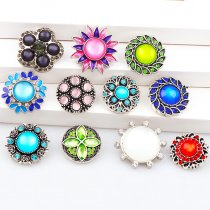 2017 New Fashion 6pcs High Quality Crystal Mixed Sun&Flower Glass Metal Snaps buttons DIY Snap Charms Jewelry Bracelet&Bangle