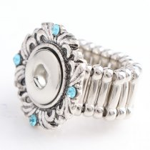 New 1 Piece Fashion Flower 12mm Snap Adjustable Size Elastic Carve Vintage Flower Blue Rhinestone Snaps Buttons Ring DIY Jewelry Charm