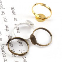 20pieces10mm   Adjustable Ring Flat Pad bezel Embellishments Cabochon Bases Setting