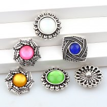2017 New 6pcs High Quality Crystal Mixed Square&Sun Glass Metal Snaps buttons DIY Snap Charms Jewelry Bracelet&Bangle