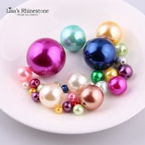6mm-30mm Straight Holes Mix Color Round Imitation Plastic Pearl Beads
