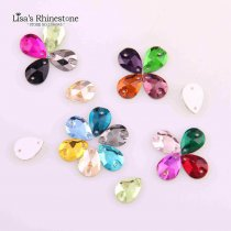 wholesale  20 Pieces 10x14mm Sewing Teardrop Rhinestone Glass Sew On Flatback 2 Holes Crystal Stones Clothes For DIY Wedding Dresses Crafts