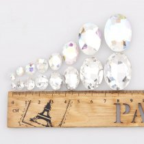 wholesale High Quality Oval Pointback Rhinestone Beads Crystal Clear Glass Fancy Stone DIY Wedding Dress Jewelry Making