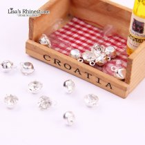 Round Crystal Glass Stones Gold & Silver Metal Base Setting Claw With One Loop Sew On Beads Rhinestone DIY Jewelry Charms