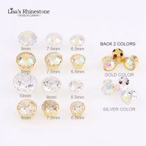 New 3D Shine Silver Golden Flower Edge Sew On Crystal AB Crystal Clear Glass Rhinestone For DIY Wedding Dresses Crafts
