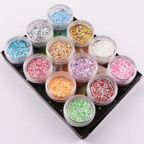 12Colors/Box Random Colorful Snowflake Nail Sequins Shining Round Shape