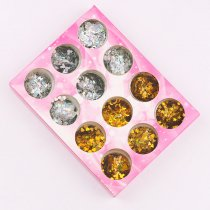 12pcs/Box Laser Nail Sequins Star Moon Sparkles Gold Silver Nail Art