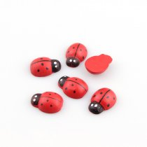 50Pcs  Red Wooden Ladybird Ladybug Wooden Buttons Cabochons Flatback