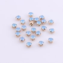 wholesale ss28 6mm Blue/Green/White/Pink Opal Sew On Resin Rhinestone Crystal Gold Claw Strass Diamond Stones For DIY Decoration