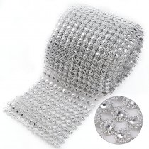 2017 12 Rows 9mm Hollow Rhinestone Mesh Trim (Without Rhinestone) Silver ABS Plastic Sew On DIY Dress Jewelry