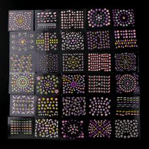 50Sheets 3D Nail Sticker Transparent Bottom Colorful Flower Butterfly