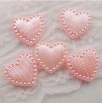1000Pcs 15*15mm ABS 14Color Heart  Pearl Cobochon