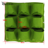 50*50cm 9 Pockets Vertical Grow Bags with Round Bottom Garden Planter Wall-mounted Planting Flowers Planting Bags