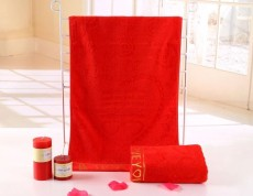 Wedding Supplies 50% Cotton + 50% Bamboo Fiber 34 X 76cm 130g Red Quick Dry Bath Hair Towel Super Absorbent for Marriage A00137