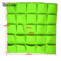 100*100cm 25 Pockets Green Vertical Garden Planter Grow Bags Wall-mounted Planting Flower Bags Vegetable Living Garden Supplies