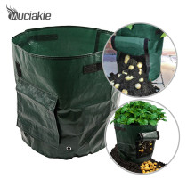 MUCIAKIE 1 Piece 7 Gallon Potato Grow Bags PE Garden Plant Bag w/ Access Flap Vegetables Planting Bags for Home Garden