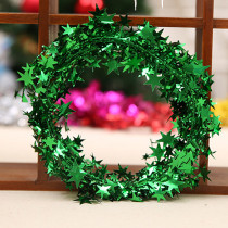 22.5 feet Glittering Red (yellow, green, blue, rose red, silver) Star Shaped Tinsel Wire Garland Christmas Tree Decoration