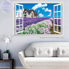 90*60cm Windows Garden Flower Idyllic Scenery Wall Sticker for Kids Living Room Removable Art Wall Decal Poster Sofa Wall Decor 1 order
