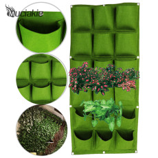 MUCIAKIE 100x50cm Green Vertical Garden Planter Wall-mounted Planting Flower Grow Bag 3*6 Pockets Vegetable Home Supplies