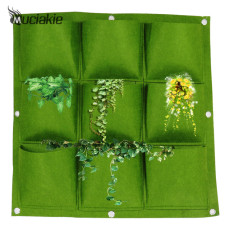 MUCIAKIE 50x50cm 9 Pockets Wall-mounted Planting Bag Felt Vertical Garden Grow Bags Put into Pot available (flat bottom)