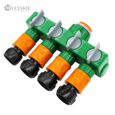 MUCIAKIE 1 SET Drip Irrigation 4 Way Faucet Tap Garden Hose Water Splitter with 4PCS 3/4'' Threaded Quick Connector Converter