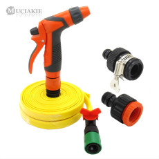 MUCIAKIE 1 SET Garden Water Irrigation Kit with Watering Gun 10m 15m 1/2'' PVC Hose 2 Types of Faucet Adaptor and Accessories