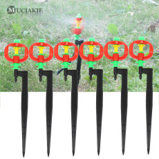 MUCIAKIE 50PCS Drip Watering Rotary Sprinkler with Stake Micro 360 Degrees Rotating Head Nozzle Spray on Spike Garden Irrigation