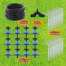 20M 3/5MM Hose Micro Drip System Drippers Home Garden Bonsai Watering Irrigation Kits with 1/8'' Hose Compensating Emitters