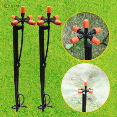 MUCIAKIE 10 SETS 5-Nozzle Misting Sprinklers Micro Sprayers on 45cm Stake Garden Greenhose Yard Irrigation System w/ 4/7mm Hose