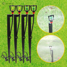 MUCIAKIE 10 SETS Micro Irrigation Spray Rotary Mist Nozzle 360 Degree On Stake Garden Watering Yard Garden Sprinklers Sprayers