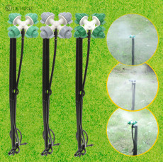 MUCIAKIE 10 SETS Mist Cross Sprinkler Nozzle with 45cm Stake 1m 1/4'' Hose Barb Micro Irrigation Patio Spray Greenhouse Cooling