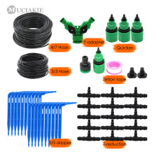 MUCIAKIE 50M 4/7 to 3/5MM Micro Drip Irrigation System Garden Bonsai Plant Dripper Watering Kits with 1/4 1/8'' PVC Hose Elbow