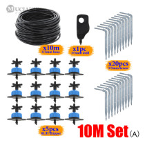 8L/H Compensating Emitter Kits with 1/8'' PVC Hose Four Ways Water Splitters 3/5 Elbow Drippers Watering System for Bonsai Plant