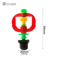 MUCIAKIE 5PCS NEw Red 360 Degrees Rotary Spray Sprinklers with 1/2'' Thread Adaptor Mist Nozzle Garden Lawn Yard Irrigation