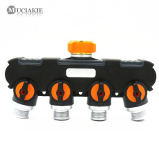 MUCIAKIE 1PC US Standard Metal 4-Way Water Splitter 3/4'' Female Thread to 3/4'' Male Shut Off Garden Irrigation Connector Valve