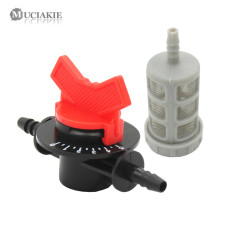 MUCIAKIE 1 SET Venturi Fertilizer Injector Fittings 7mm Water Shut Off with Figure Metal Filter Garden Irrigation Hose Accessory