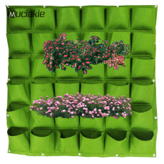 MUCIAKIE 100x100cm 36 Pockets Green Felt Vertical Planting Bag Wall Hanging Plant Pot Garden Grow Bags Planters Decorations