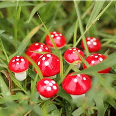 Miniature Garden Decor - 10 Pieces Mini Red Mushroom Garden Ornament Miniature Plant Pots Fairy DIY Dollhouse - Miniature Fairy Garden Décor