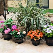 1PC Flower Pot Plastic Simulation Wooden Cask Pastoralism Round Flowerpot for Home Garden Plants Planting