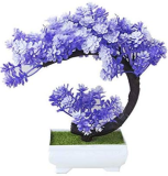 Bonsai Tree Plant Pine Tree Garland Fake Bonsai Tree Artificial Bonsai Trees Square Pots for Home Party Decorations - (Color: Purple)