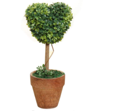 PHFU Plastic Garden Grass Ball Topiary Tree Pot Dried Plant for Wedding Party Decor(Heart-Shaped)
