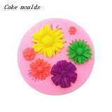 F15223 Five Daisy Flowers Shape Silicone 3D Mold Fondant Cake Decorating Tools Sugar Chocolate Cookies Dinning Bar Mould