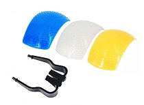 Generic Flash Diffuser Lumiquest Cover for DSLR Camera Pack of 3 Pcs Color White Yellow Blue