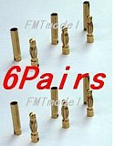 6Pairs Thick Gold Plated 4.0mm Bullet Connector ( banana plug ) For ESC Battery