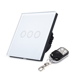 EU/UK SESOO Remote Control Switches 3 Gang 1 Way Wireless remote control wall touch switch Crystal Glass Switch Panel F1