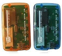 F04523 Mini Transparent Multifunction CF TF SD Multi-card Memory Card Reader Adapter for PC laptop