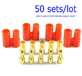 50 sets 3.5mm Banana Gold Bullet Connector Plug with Housing for ESC Lipo Battery Motor