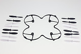 F08568-A Protection Cover Blades Guard Black with 4 sets H107-A02 Blades Propeller for Hubsan X4 H107L Quadcopter+freesh