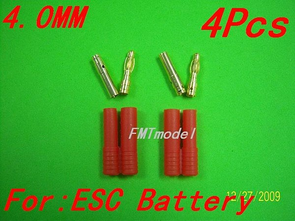 F00150/F00913, 4.0mm banana plug with housing cover For Rc Helicopter ESC Battery